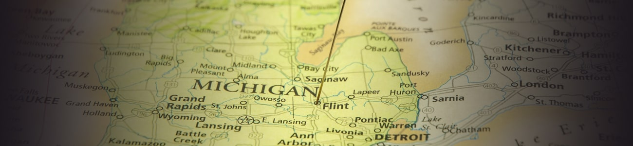 Banner picture of michigan on a paper map